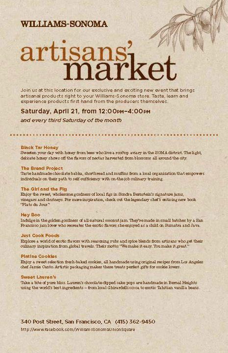 Vendor List for Williams Sonoma Artisans' Market