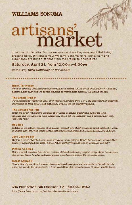 Vendor List for Williams Sonoma Artisans' Market