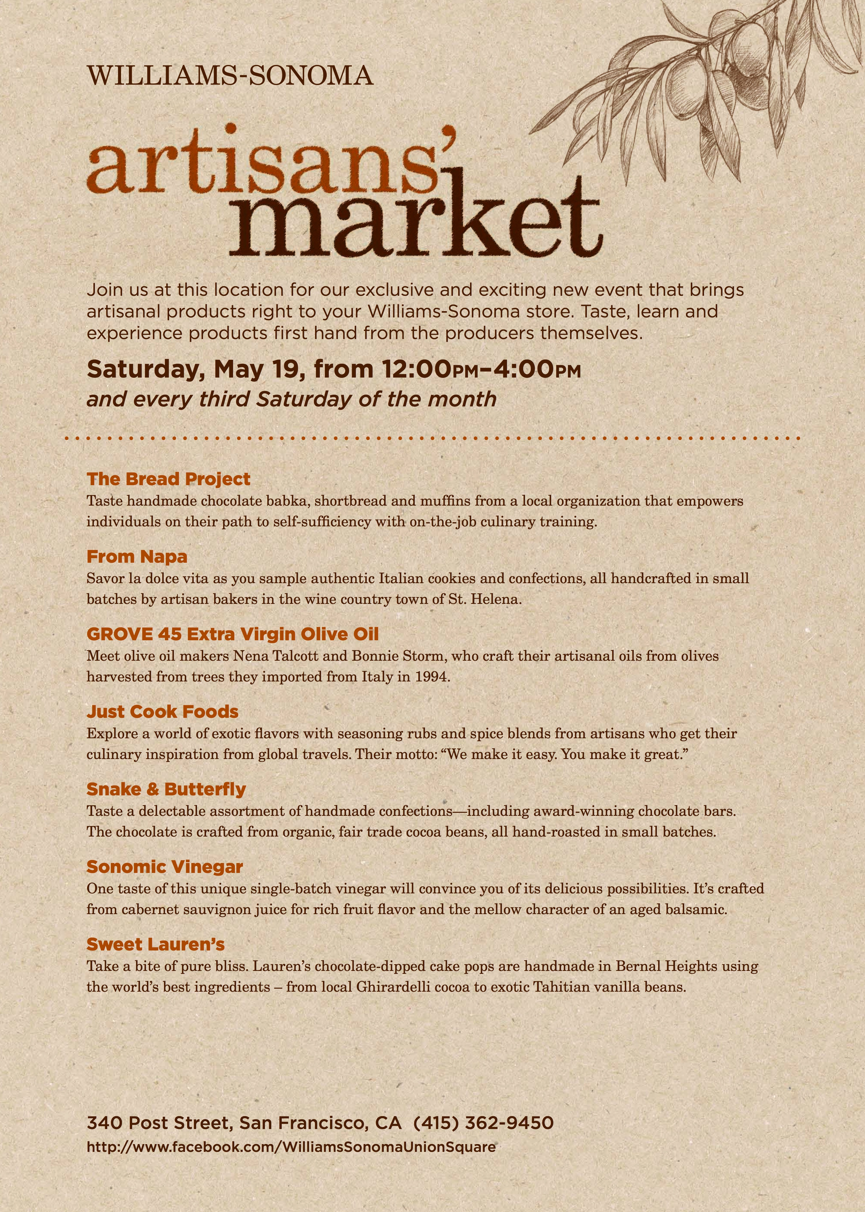 Artisan Line Up for May 19th 2012