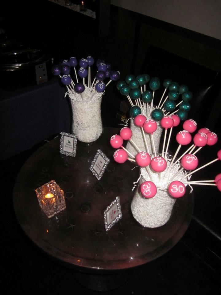 Girly Glittered 30th Birthday Cake Pops