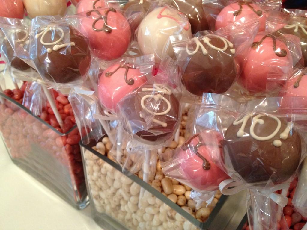 Cake Pops in Vases of Jelly Beans